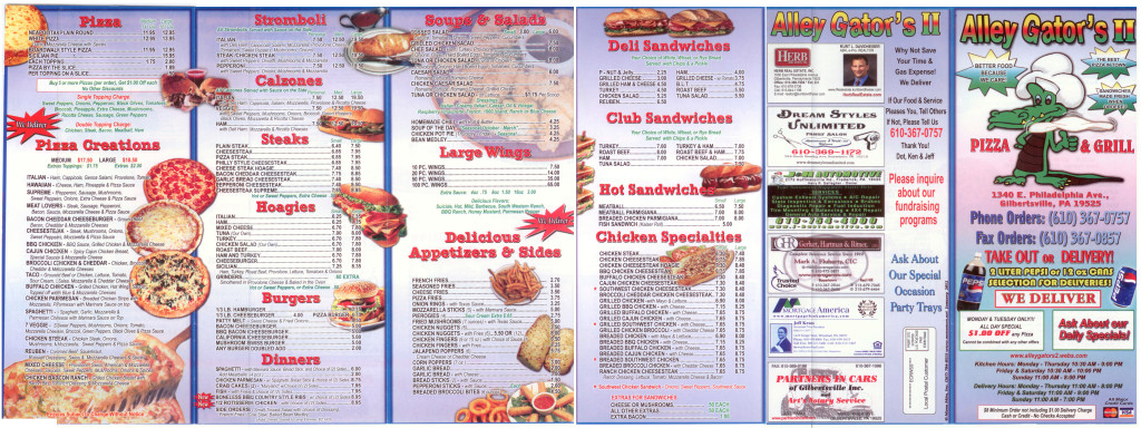 Alley Gators II Menu