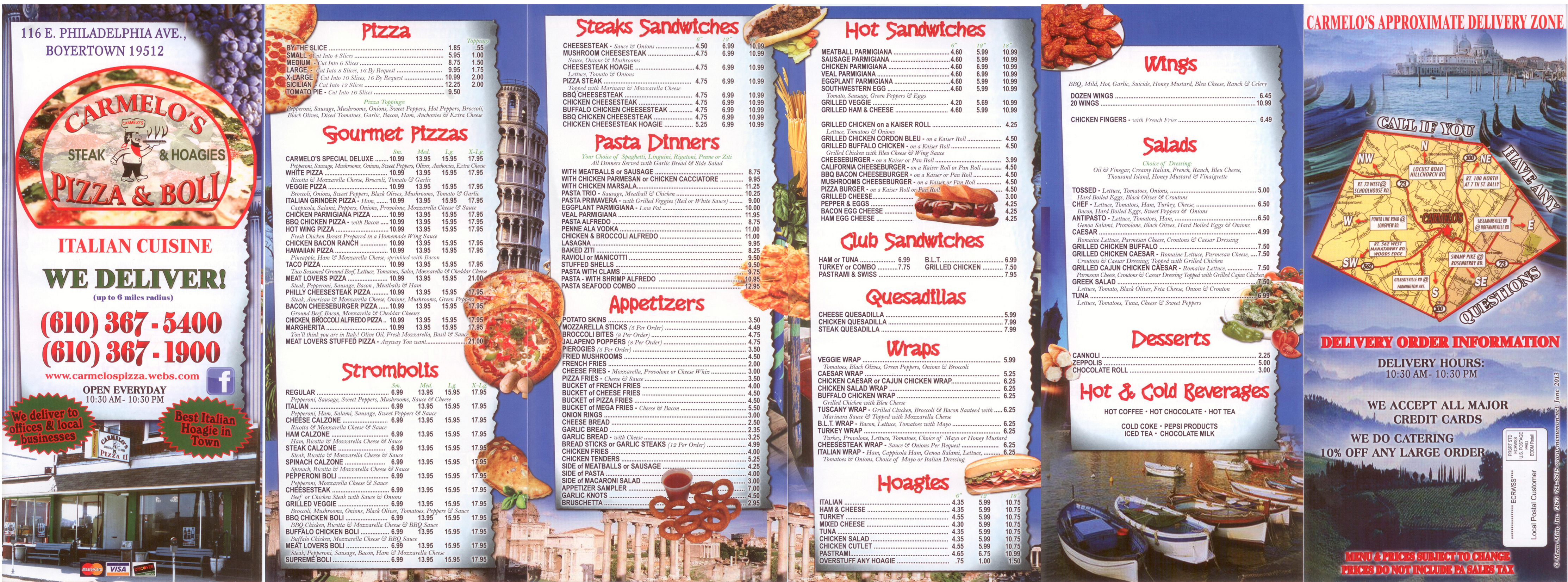 Carmelo's Pizza Menu