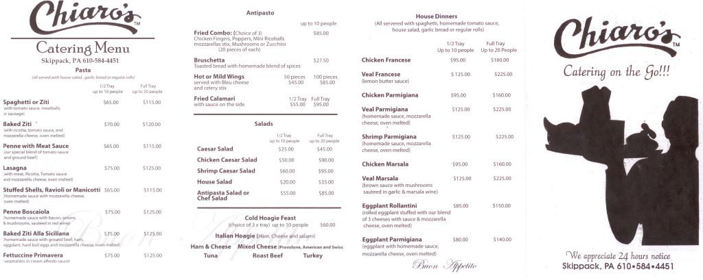 Chiaros Catering Menu