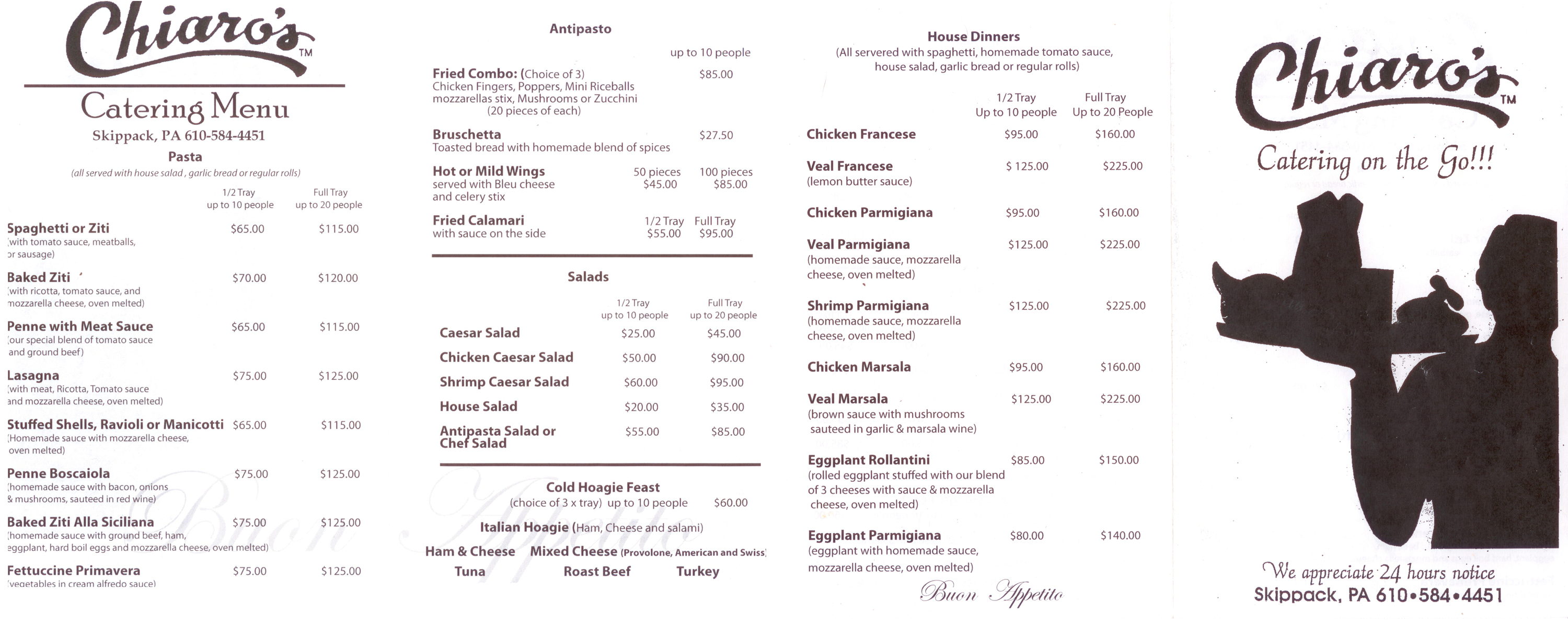 Chiaros Catering Menu