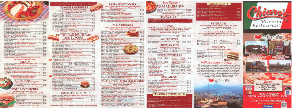 Chiaro's Pizzeria & Restaurant Menu