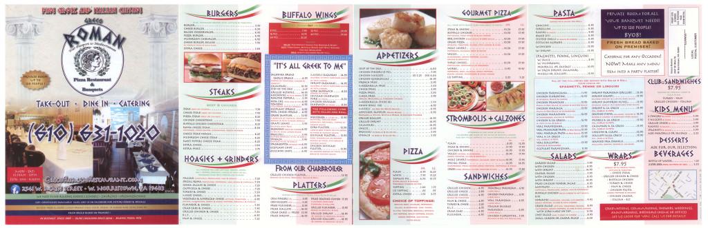 Greco Roman Restaurant Menu