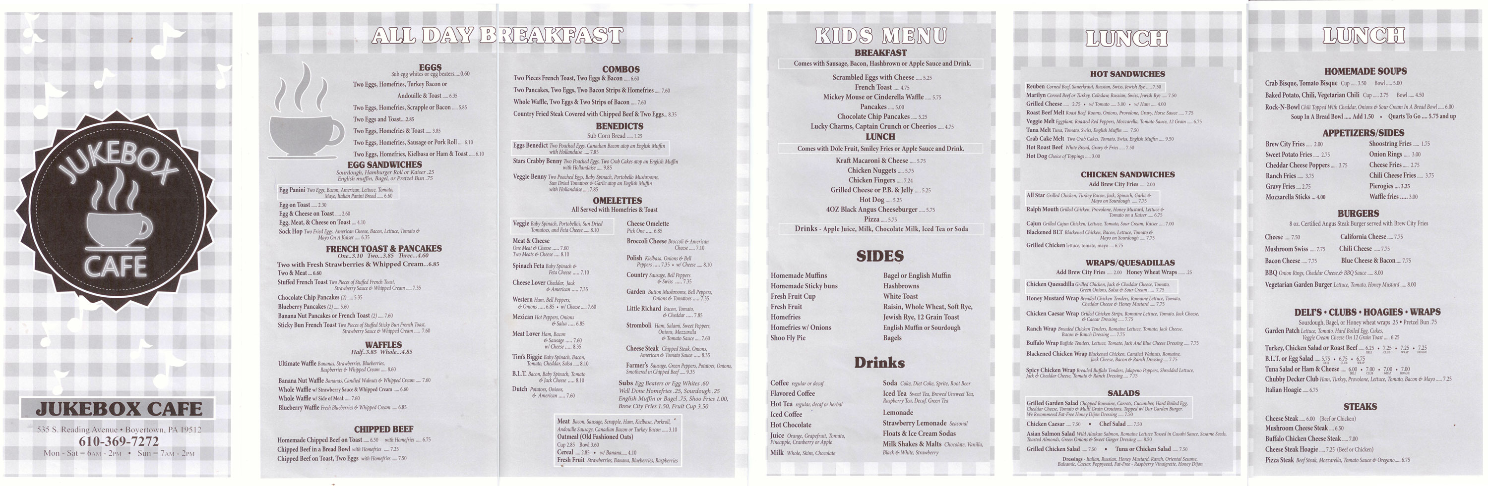 Jukebox Cafe Menu Berks Mont Menus