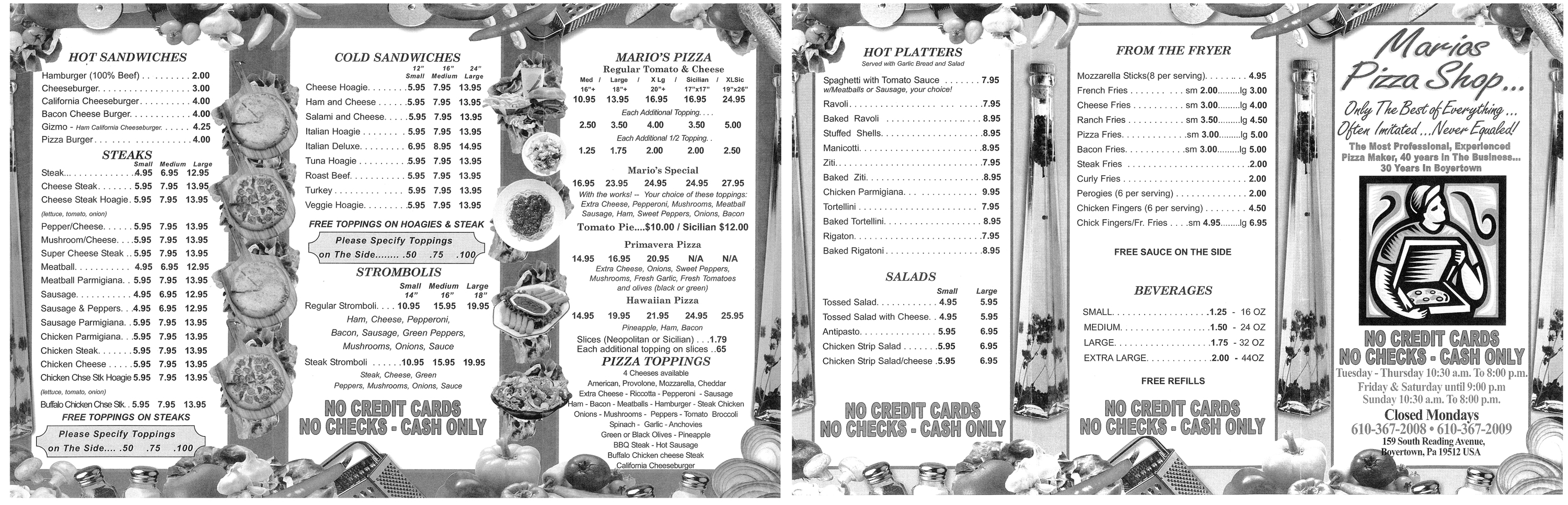 Mario 39 s pizza shop menu berks mont menus for Aashiyana indian cuisine reading pa