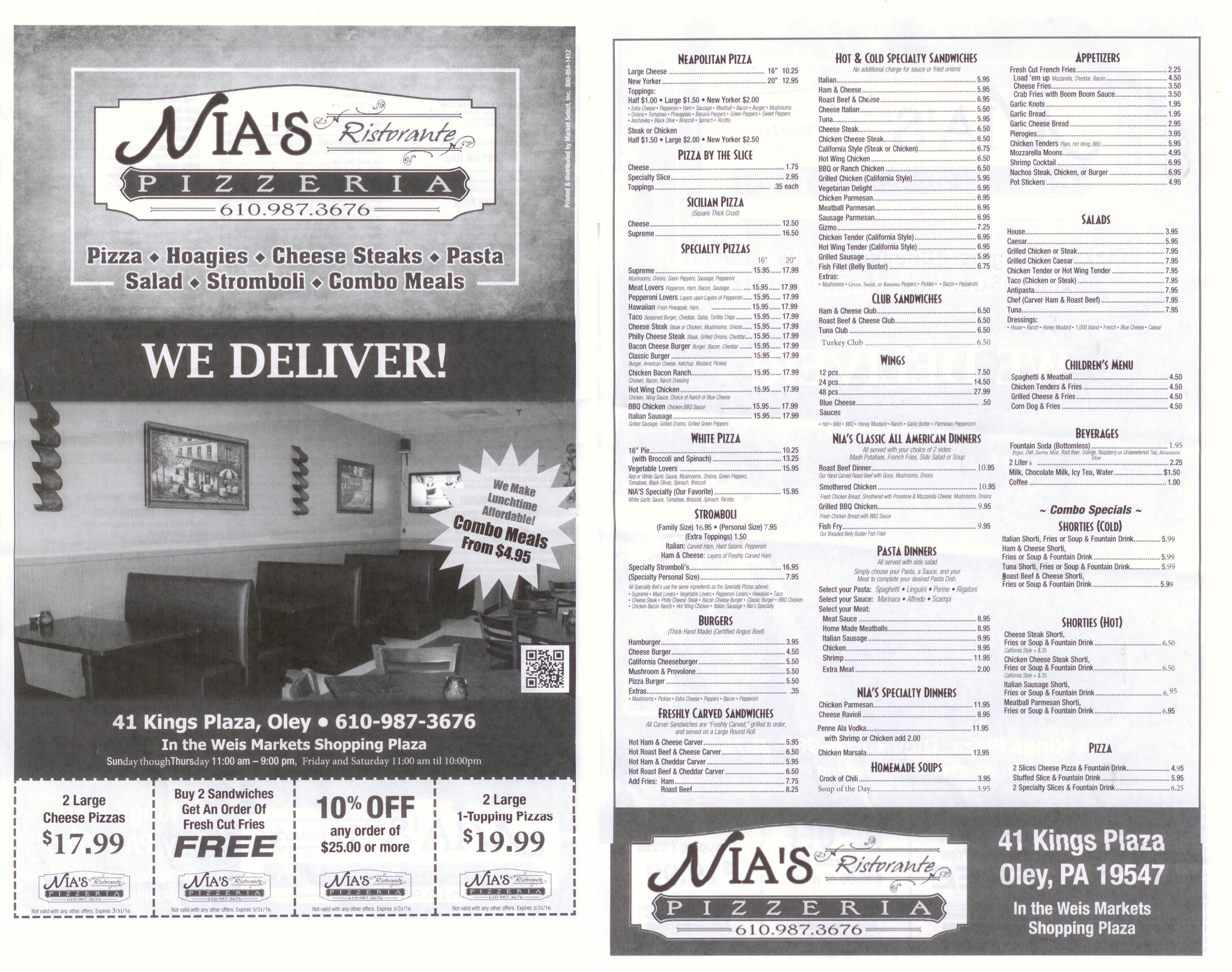 nias pizza menu