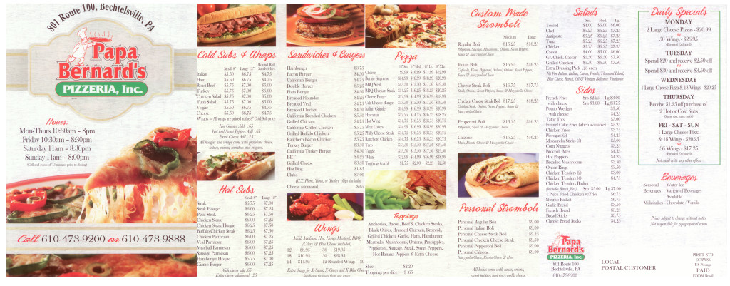 Papa Bernard's Pizzaria Menu
