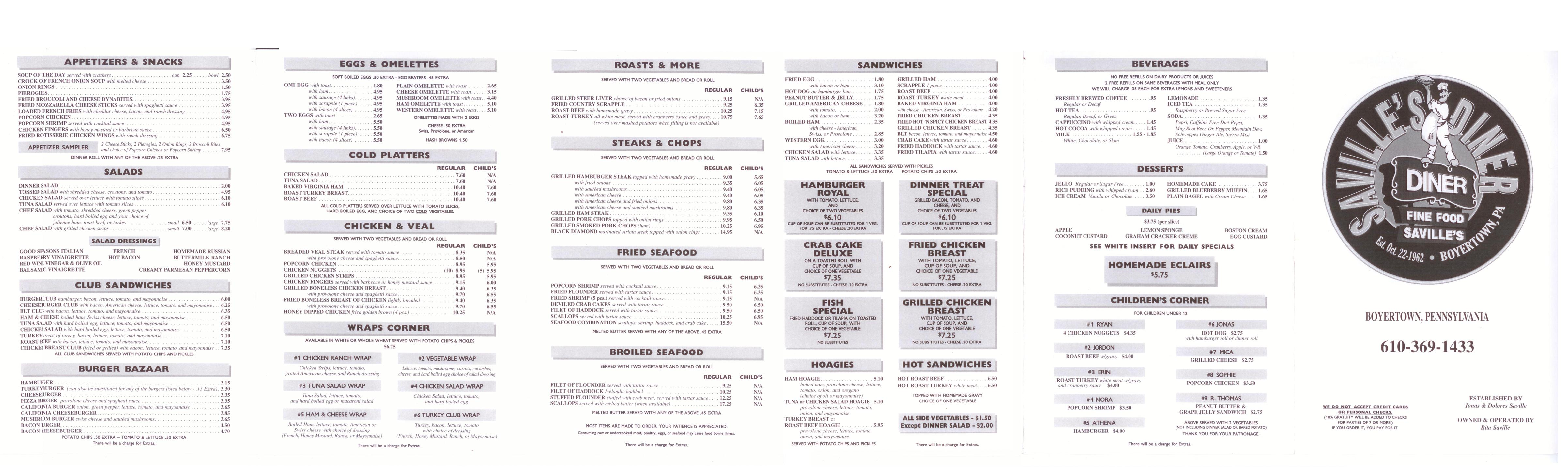 Saville's Diner Menu