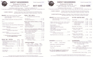 Sweet Beginnings Menu