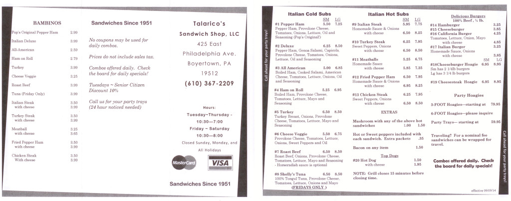 Talarico's Sandwich Shop Menu
