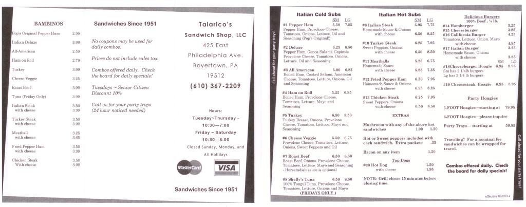 Talarico's Sandwich Shop Menu