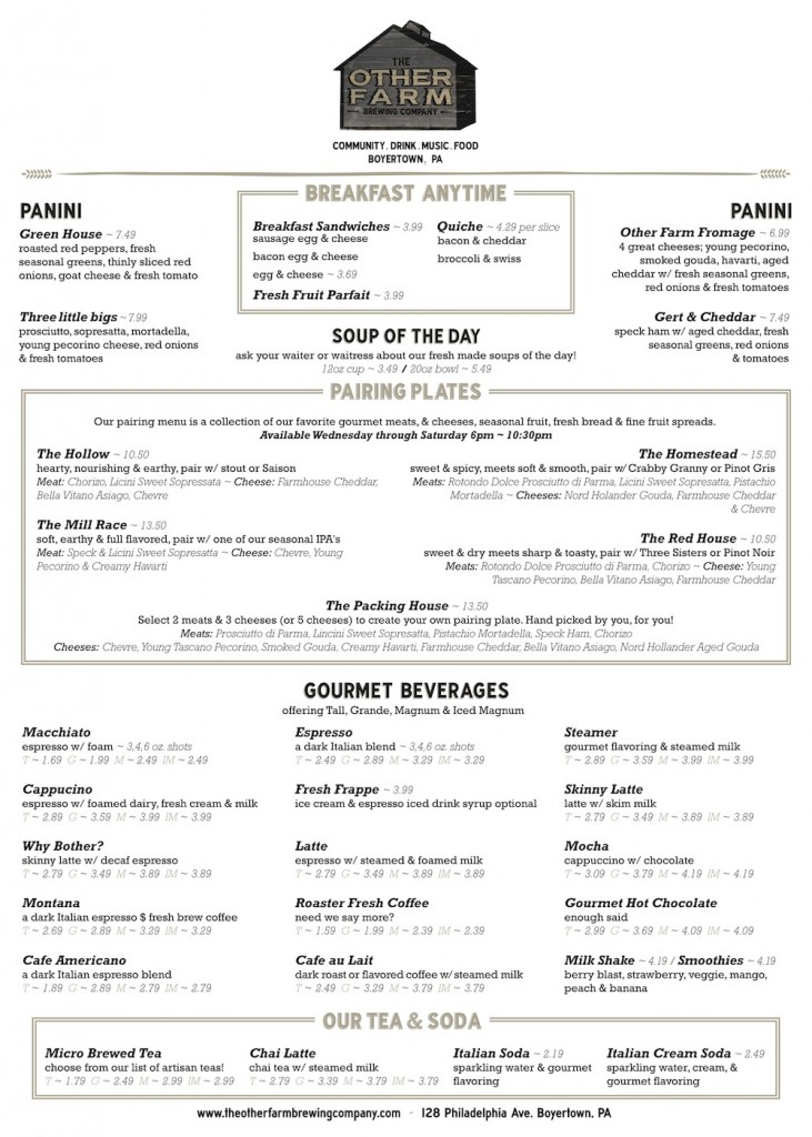 The Other Farm Brewing Company Menu