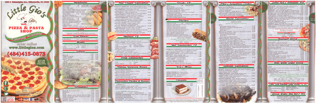 Little Gio's Pizza Shop Menu