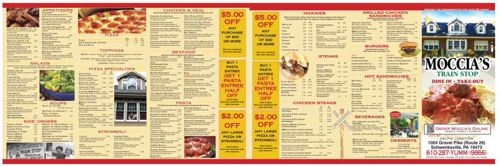 Moccia's Train Stop Menu