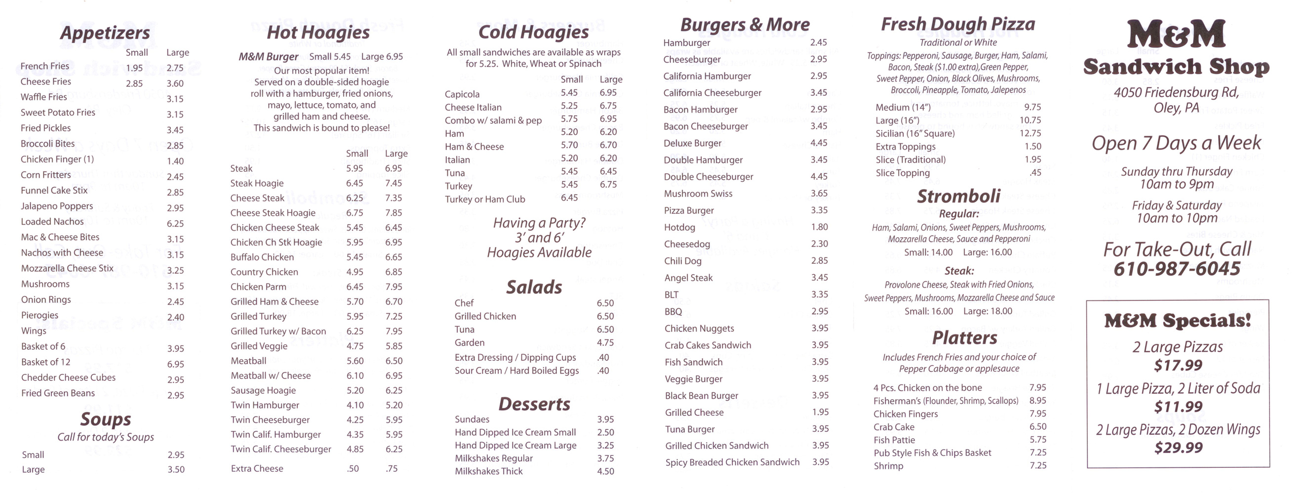 M&M Sandwich Shop Menu