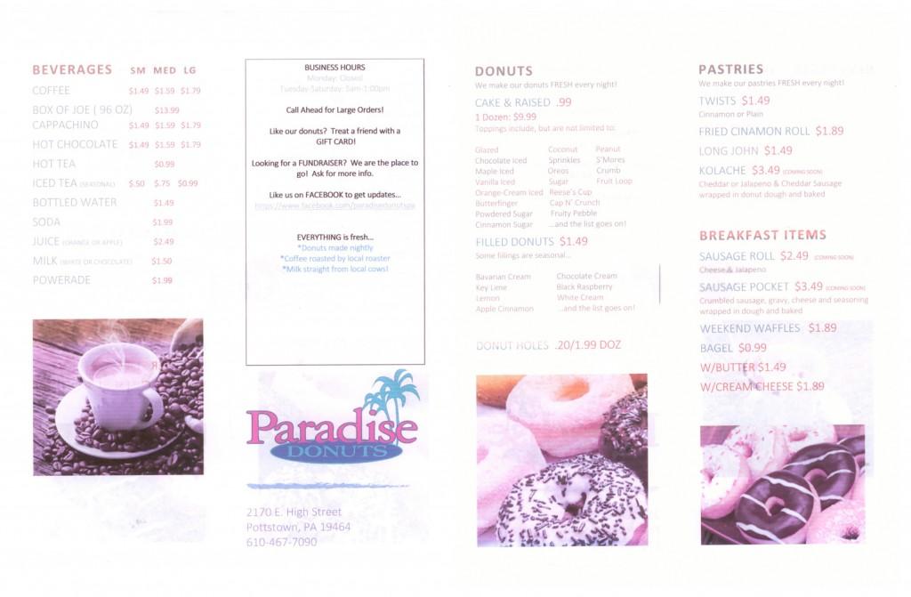 Paradise Donuts Menu