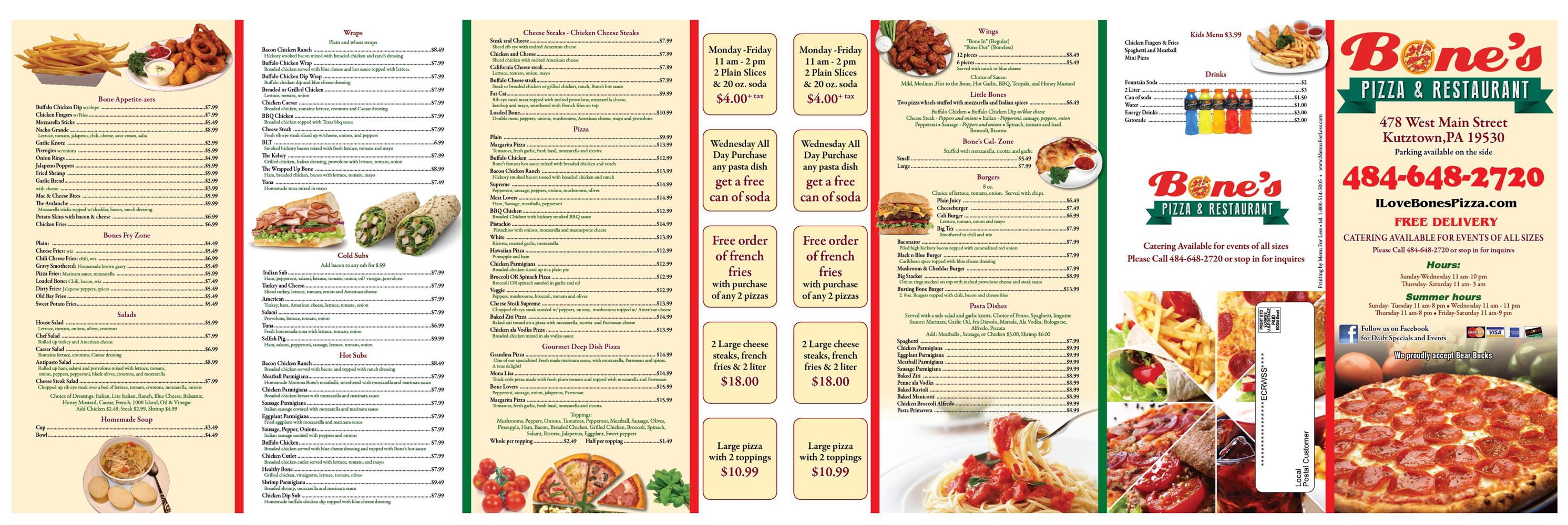 Bone's Pizza Menu