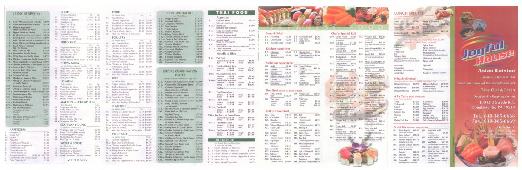 Joyful House Asian Restaurant Menu