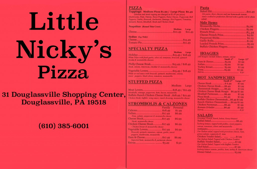 Little Nicky's Pizza Menu