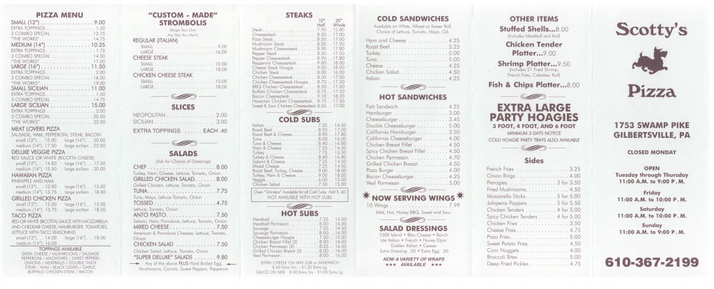 Scotty's Pizza Menu