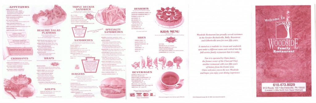Woodside Family Restaurant Menu