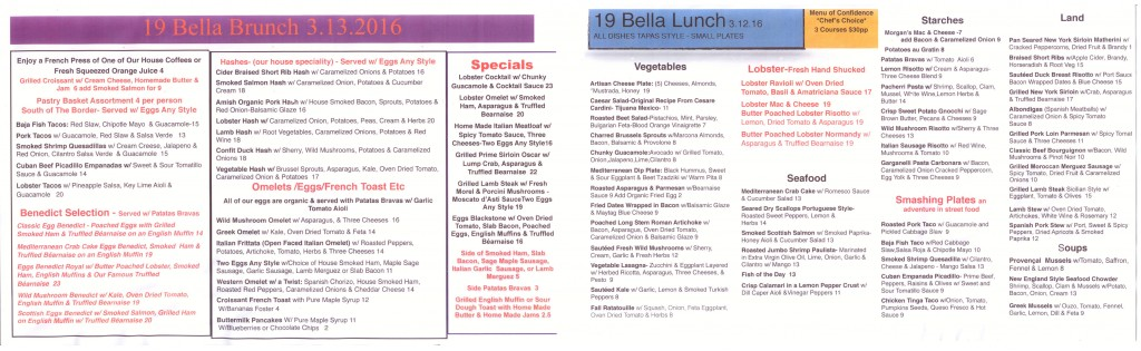 19 Bella Menu