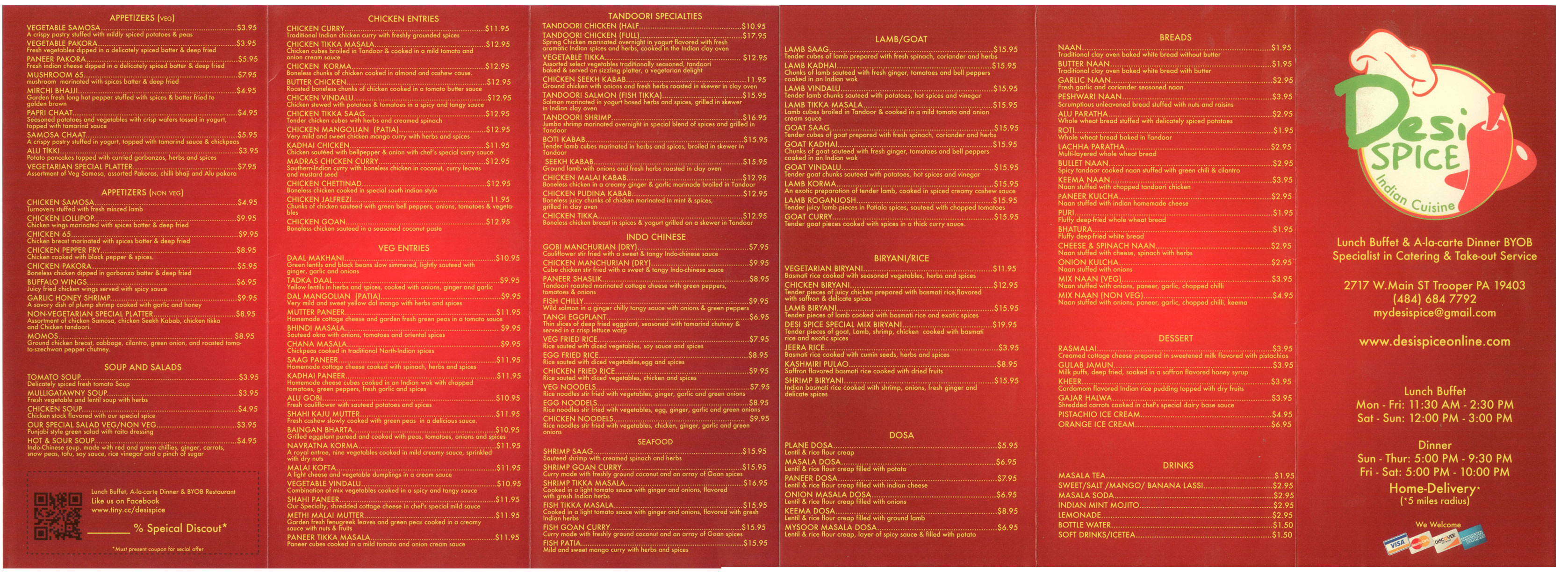 Desi Spice Indian Cuisine Menu