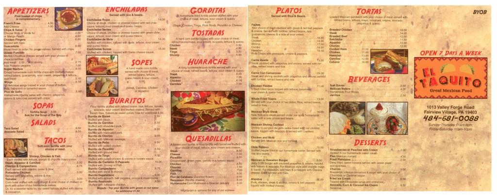 El Taquito Mexican Restaurant Menu