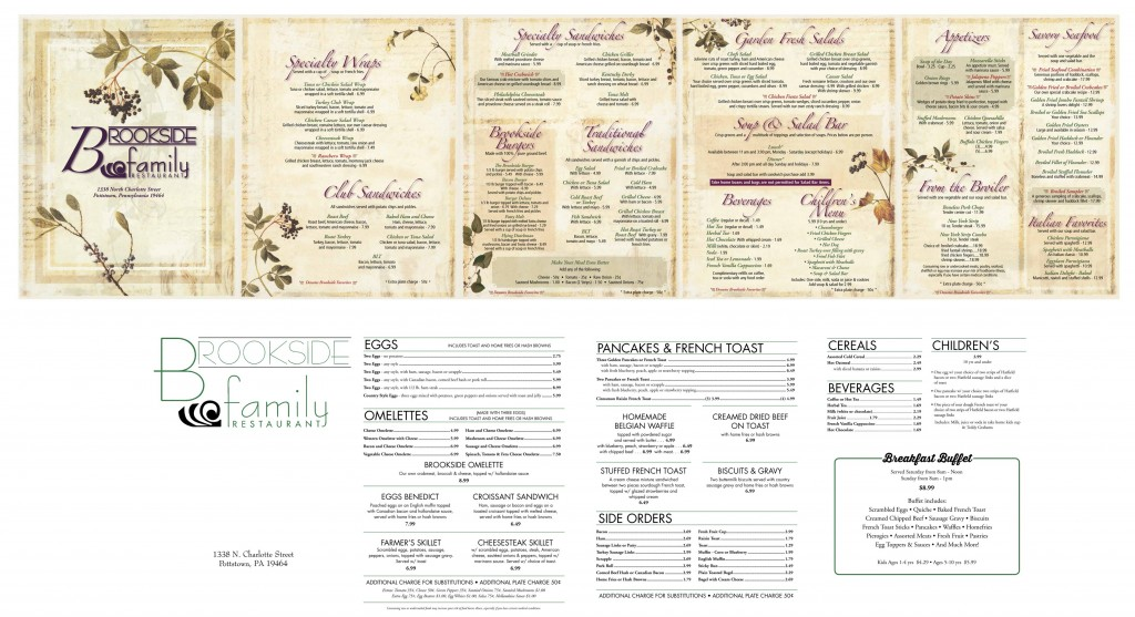 Brookside Family Restaurant Menu