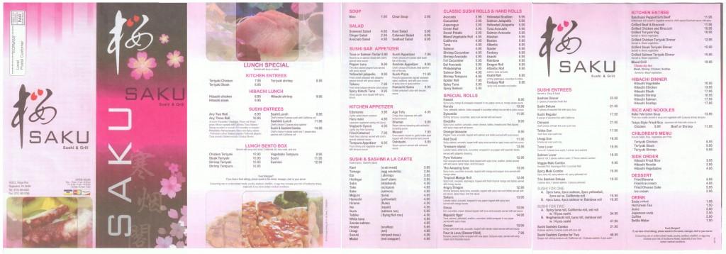 Saku Sushi & Grill Menu
