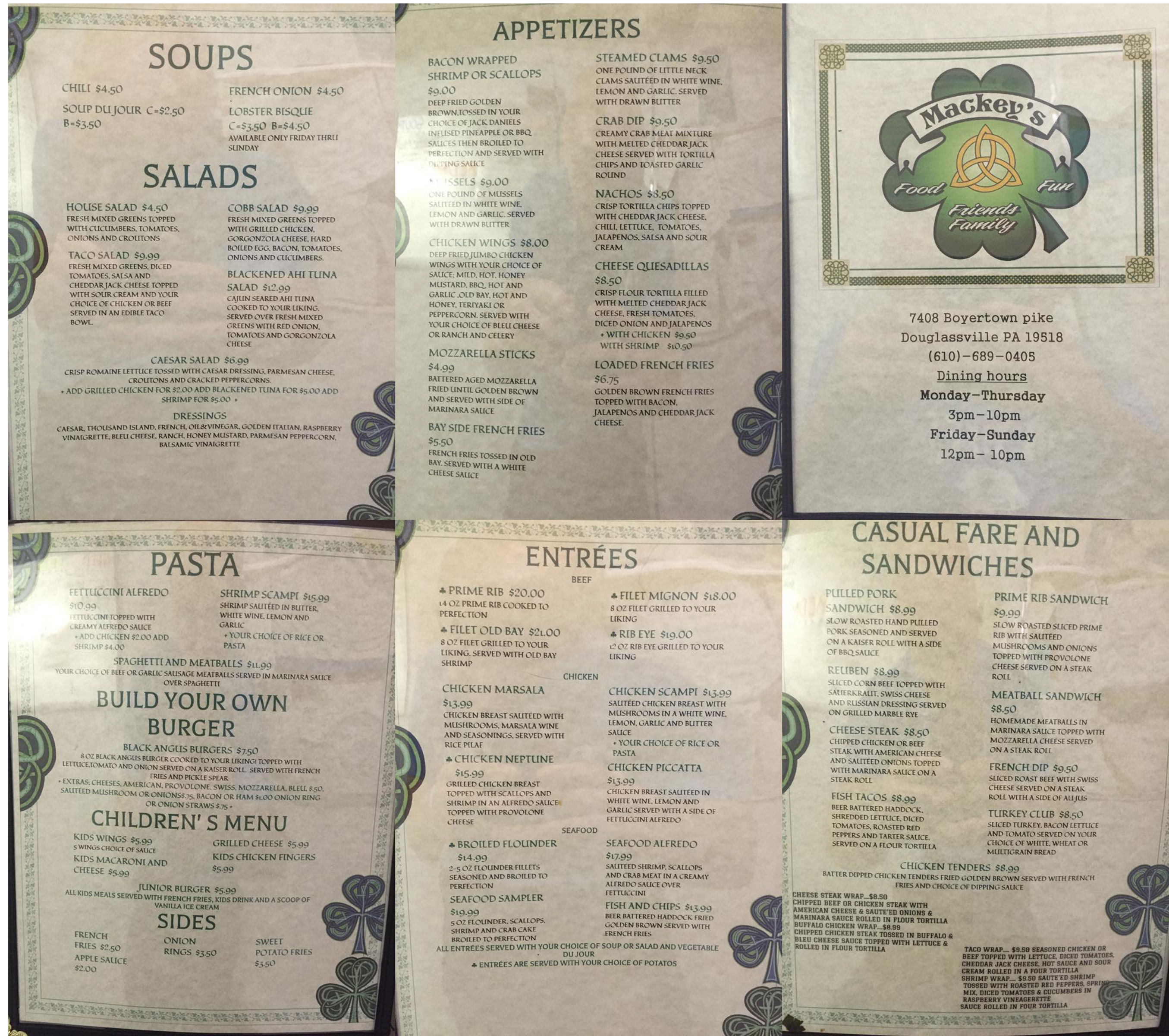 Mackey's Menu