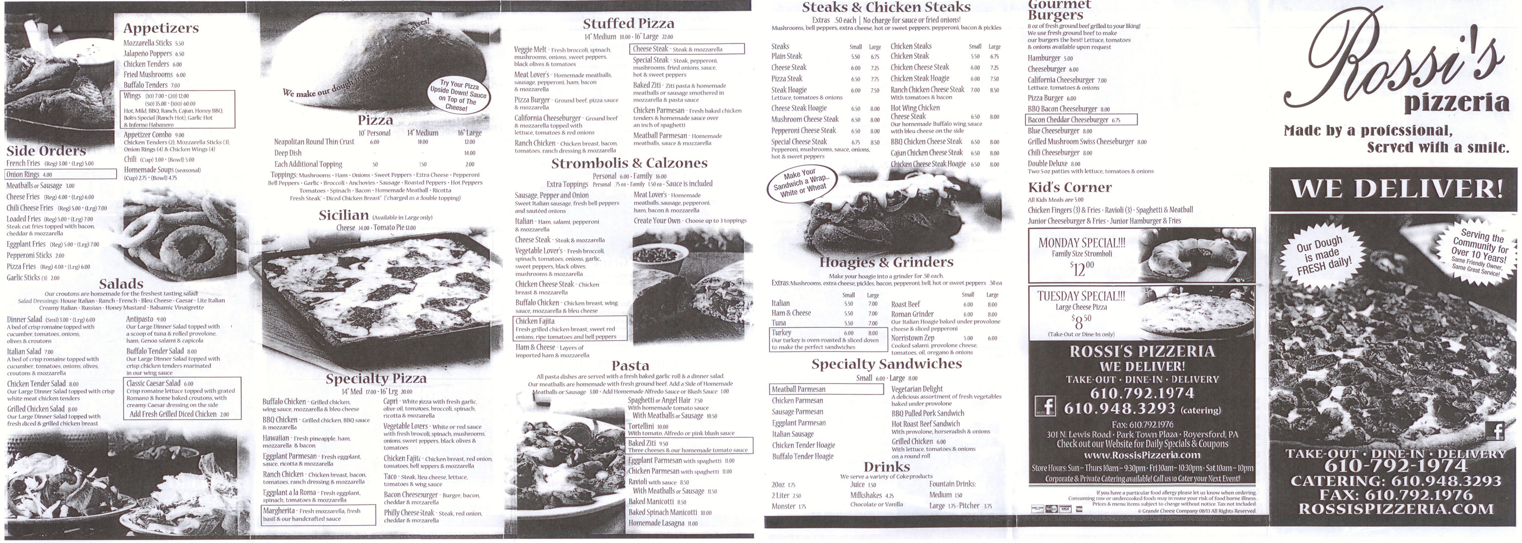 Rossi's Pizza Menu