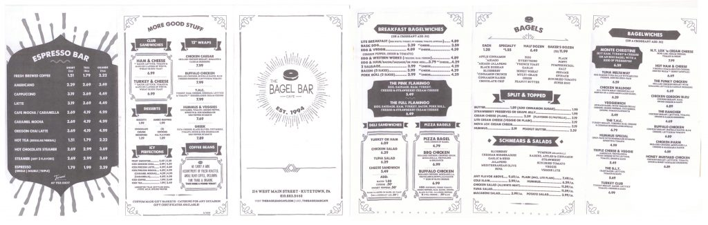 The Bagel Bar Cafe Menu