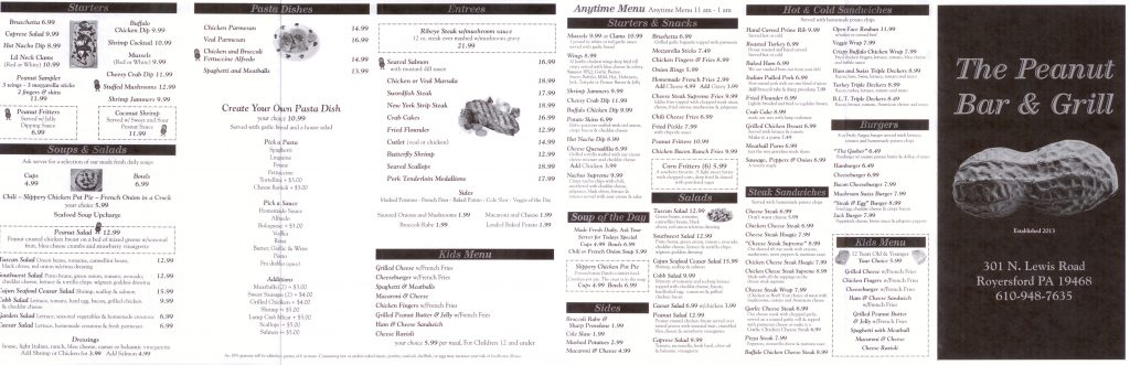 The Peanut Bar & Grill Menu