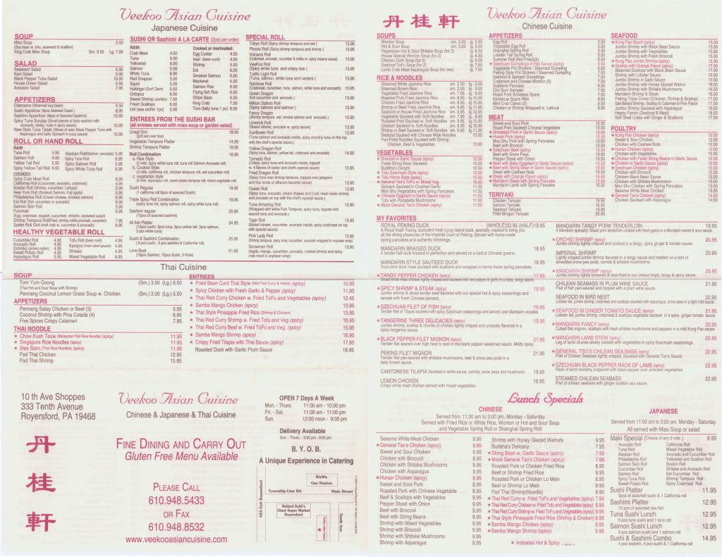 Berks mont menus the menu you need now for Asian cuisine menu