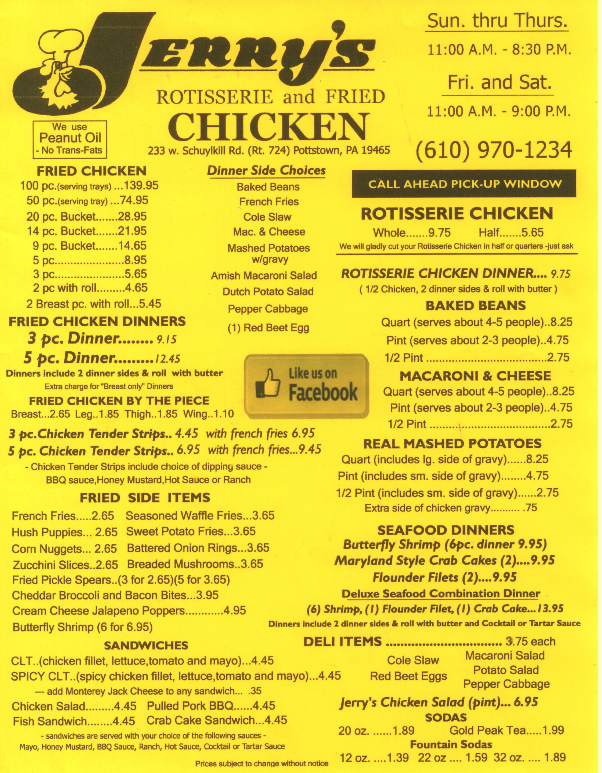 Jerry's Rotisserie and Fried Chicken Menu