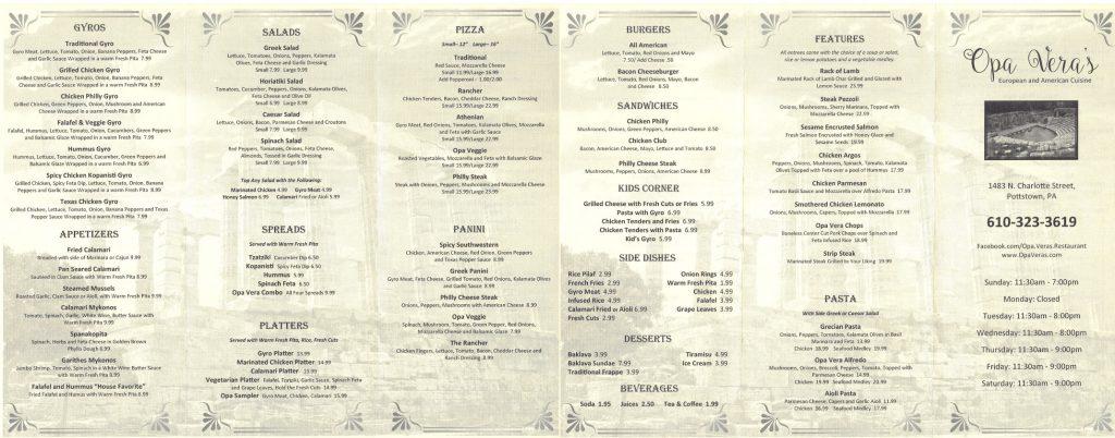 Opa Vera's Restaurant Menu